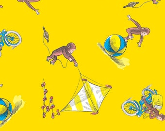 "Curious George on yellow fabric, 43-4"" wide, 100% cotton, by the half yard, licensed fabric, curious george fabric, character fabric"