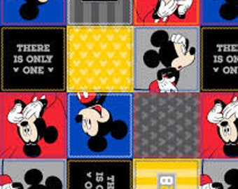 """Mickey Mouse 1928 squares by Springs Creative, By the Half Yard, 43"""" wide, 100% cotton, disney fabric, mickey fabric, cartoon fabric"""
