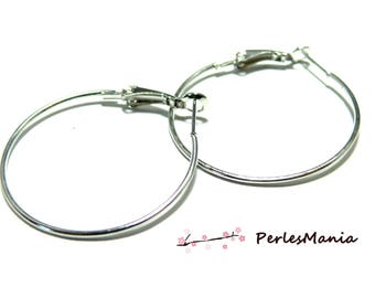 10 silver hoop earring Platinum JB211 DIY 35mm
