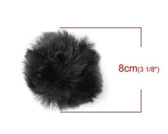 1 Pompom ball fur very soft black 80mm (S1191274)