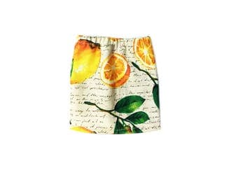 Pencil Skirt, Mini Skirt, Fruit, Lemon, Yellow, Green, Beige, White, Fits dolls such as AG, Wellie Wishers, 14 inch Doll Clothes, 14.5