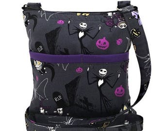 20% OFF SALE Nightmare Before Christmas Crossbody Bag // Jack Skellington Sling Bag // Crossbody Purse // Shoulder Bag // Hipster