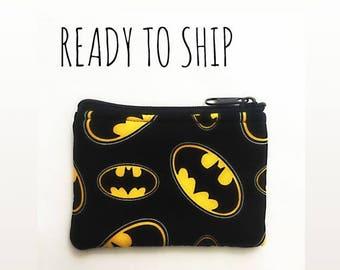 20% OFF SALE Batman coin bag // pouch // change purse // Ready to Ship