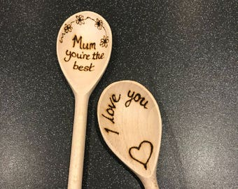 I love you gift-Mothers day gift- kitchen gift- wooden spoon- kitchen decor-hime decor