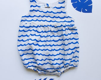 Combicourt baby girl or boy, baby romper was theme sailor electric blue wave pattern.