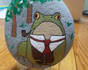 hand painted rock toad suit Frog