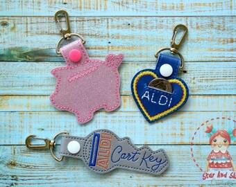 Aldi Quarter Keeper Keychain Keyfob Keyring Bag Tag Coin Keeper Quarter Holder