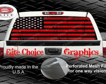 Red Black American Flag Rear Window Graphic Tint Decal Sticker Truck SUV Van Car