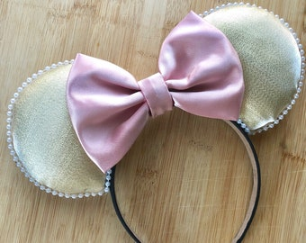 Millennial Pink and Gold ears, gold minnie ears, millennial pink mouse ears, rose gold disney ears, millennial pink minnie ears