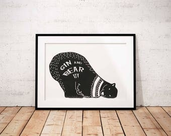 Gin print, gin art, Gin and Bear it, animal art, alcohol print, birthday gift, fine art print, home art, black and white