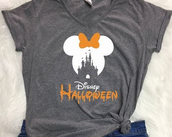 Disney CASTLE halloween V-neck shirt, Ladies halloween shirt, Disney halloween shirt, mnsshp shirt, Disney inspired shirt