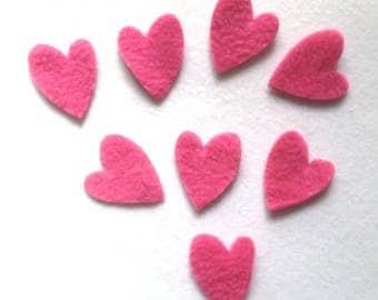 8 fabric hearts cut fleece Fuchsia dies