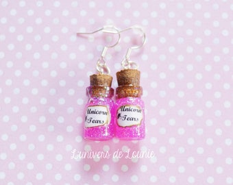 Unicorn tears earrings / Unicorn / jar / Tears / magic