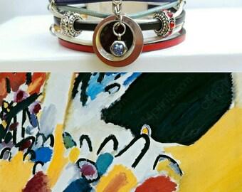 """""""Kandinsky"""" multicolor leather Cuff Bracelet"""