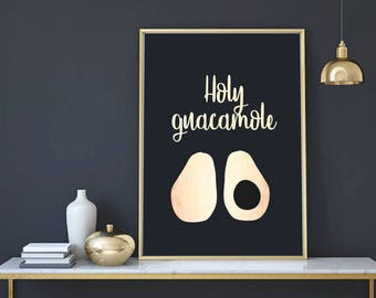 A4/A3 Rose Gold Avocado Print - Avocado Poster - Avocado Picture - Avocado Art - Kitchen Wall Print - Kitchen Decor