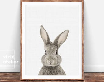 Bunny Print, Nursery Wall Art, Woodland Nursery Decor, Nursery Animal Wall Art, Rabbit Print Wall Art, Woodland Animals, Nursery Art Print