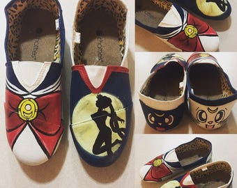 Sailor Moon Painted Shoes