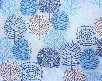 Cloud 9 Fabrics / 100% Certified Organic Cotton Poplin Fabric / Monochrome Blue / Blue Forest / Sewing Dressmaking Quilting / Half Metre
