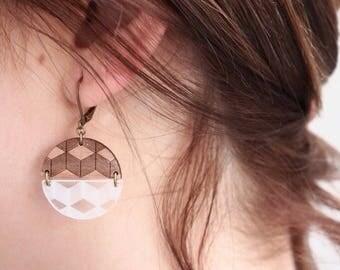 """""""3D"""" wood and plexiglass earrings"""