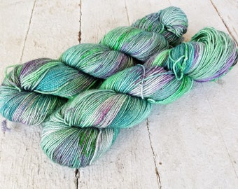 "Hand Dyed Sock Yarn, Superwash Merino - Nylon - Sparkle - Stellina, ""Eat Your Vegetables"""
