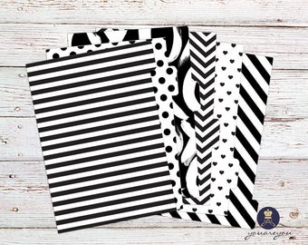 Black and White Planner Dividers Personal size, A5 Planner Dividers set of 6, Geometric Planner Dividers