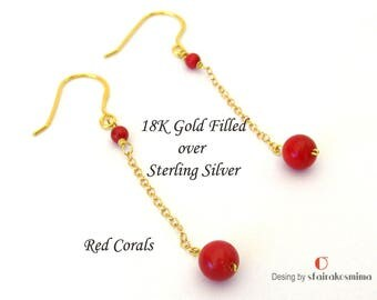 Red Coral Earrings, Long Red Earrings, Red Earrings Dangles, Gold Coral Earrings, Bachelorette Earings, Minimalist Earrings, Bridesmaid Gift