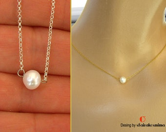 Single Pearl Necklace, Gold Pearl, Rose Gold Pearl, Sterling Silver Pearl, One Pearl Necklace, Bridesmaid Gift, Wedding Necklace