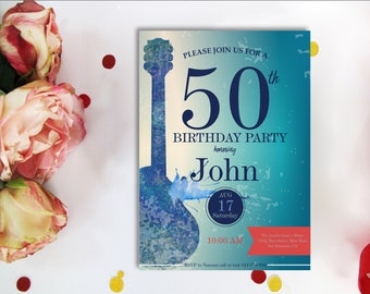 50th BIRTHDAY INVITATIONS GUITAR, Music Guitar Invite,  Rock and Roll music Theme Music Party, Adult birthday, Printable digital