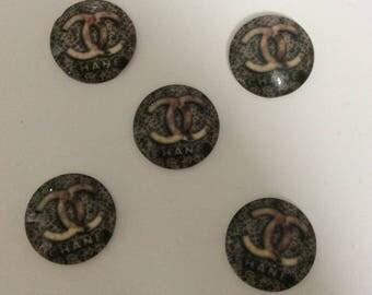 SET of 5 APPLIQUE Brown and black to paste color cabochon