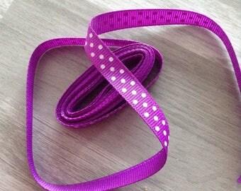 Ribbon GROSGRAIN sold by the yard purple pattern has 10mm white polka dots
