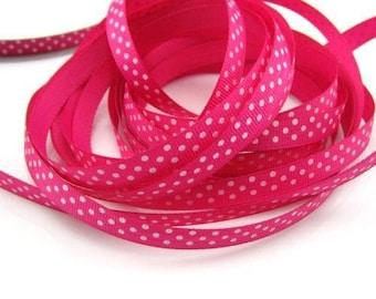 Ribbon GROSGRAIN sold by the yard fuchsia pattern has 10mm white polka dots