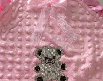 Baby girl blanket double layer cotton + MINKY customize rhinestone