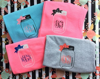 Mason jar with bow monogram t-shirt , short sleeve southern shirt , womens shirt , personalized summer shirt , monogrammed womens clothing ,