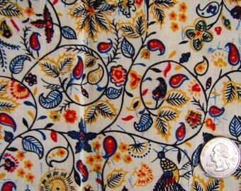 3 yards vintage cotton fabric folk design