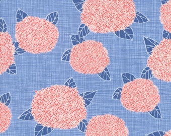 Moda - Bayberry Hydrangea - Sky - 13160 12 - 100% cotton fabric - Choose the length of fabric