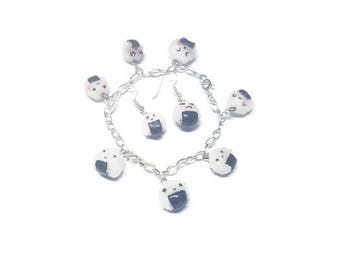Earrings bracelet onigiri fimo necklace displays