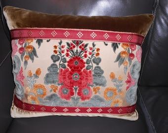 Throw pillow vintage European antique silk cotton cut VELVET fabric rich floral damask design red, green, golden tones flat trim Custom ONE