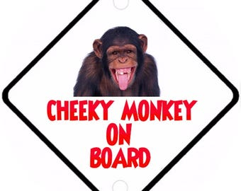 Car On Board sign - Cheeky monkey on Board Aluminium sign