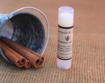 Natural Lip Balm, Cinnamon, Homemade Lip Balm, Beeswax Lip Balm, Shea Butter Lip Balm