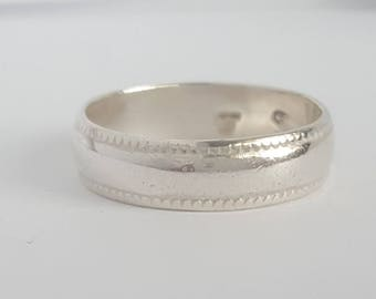 Vintage Sterling Silver Plain Wedding Band Sz 6