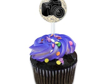 Photographers Camera Cake Cupcake Toppers Picks Set
