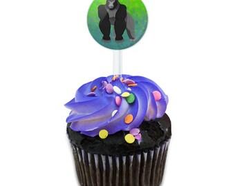 Gorilla Cake Cupcake Toppers Picks Set