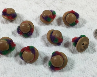 Ladies Hats Button Set - Wood and Fiber - Vintage and Highly Unusual