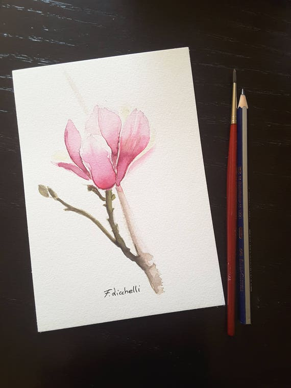 Magnolia flower, original painting, watercolor, gift idea for her, home office decoration, bedroom or living room decor, mini picture, art.