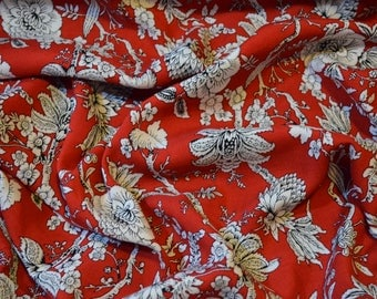 100% Viscose Fabric in Red with Black/White Monochrome Floral - SAMPLE SWATCH
