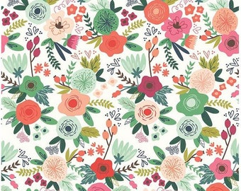 Floral Cotton Fabric - Coral Pink, Mint, Navy Blue Modern Flower On Trend White Floral - Riley Blake Designs - Jeny Allyson My Minds Eye