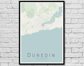 DUNEDIN New Zealand City Street Map Print   Seaside Wall Art   Apartment Print   Travel Map Poster   Wall decor   A3 A2   Gift for Couple