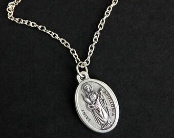 Saint Apollonia Necklace. Catholic Necklace. St Apollonia Medal Necklace. Patron Saint Necklace. Catholic Jewelry. Religious Necklace.