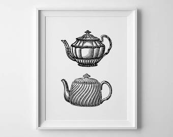 Vintage Printables, Teapot Print, Tea Wall Art, Kitchen Wall Poster, Tea Posters, Tea Pot Print, Vintage Kitchen Art