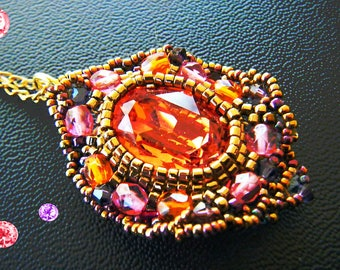 Woven Swarovski Padparadscha, pink, purple, old gold Crystal pendant